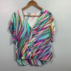 Milly New York Multicolor Silk Blouse Size 10